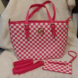 Pink & White Checkered Tote Carry All